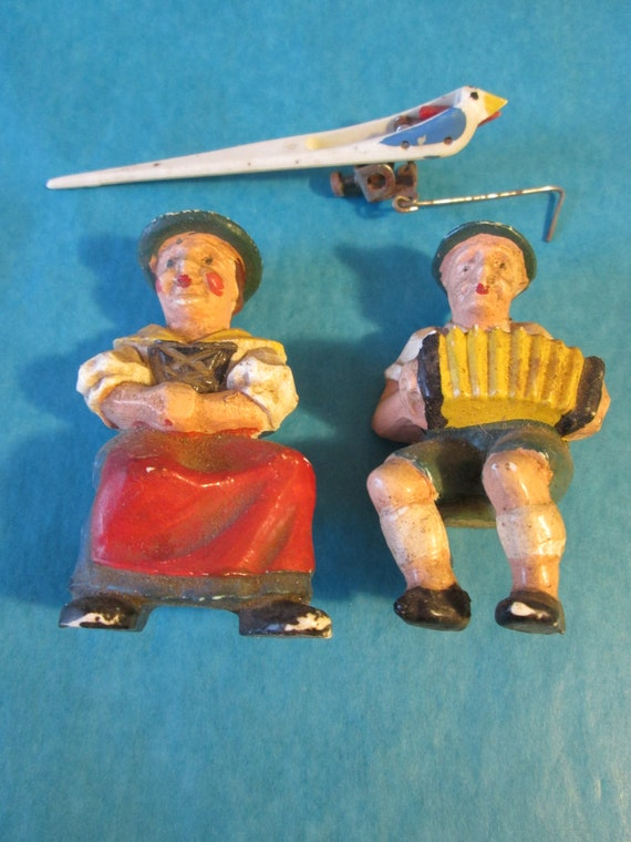 Original Painted Plaster Cuckoo Clock Man and Woman and 1 Plastic Bird Ornament for your Clock Projects, Steampunk Art and Etc...