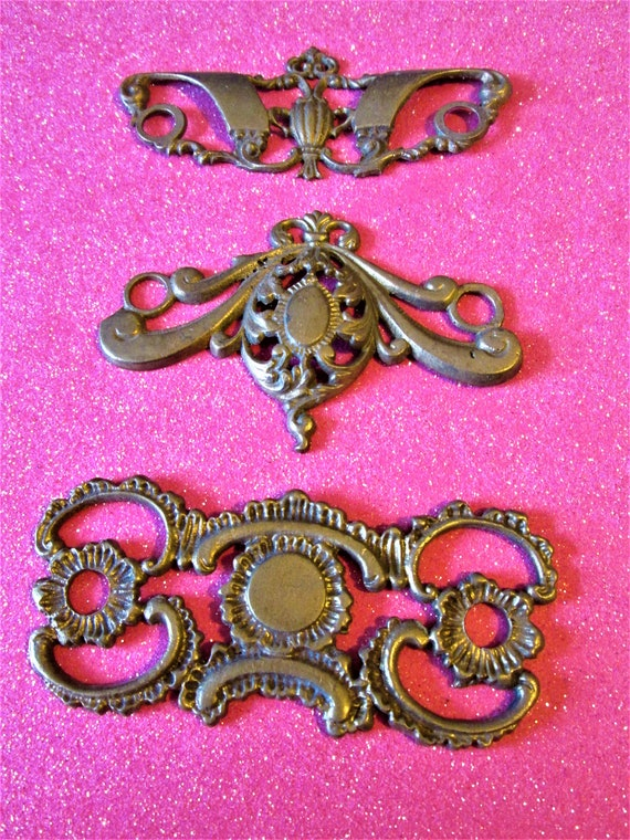 3 Vintage Cast Brass and Metal Furniture Ornaments for your Furniture Projects - Steampunk Art and Etc.Stk#848