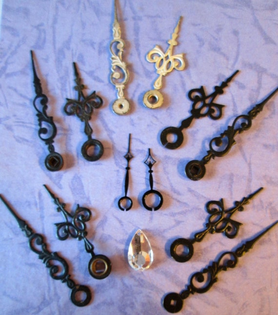 7 Pairs of Small Antique & Vintage Fancy Clock Hands - Make Jewelry, Steampunk Art and etc. B102