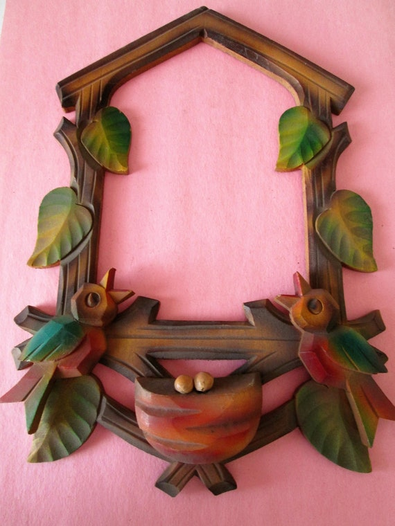 "Stained and Painted Wood 9 1/2"" x 6 3/4"" German Made Cuckoo Clock Frame for your Clock Projects - Crafts"