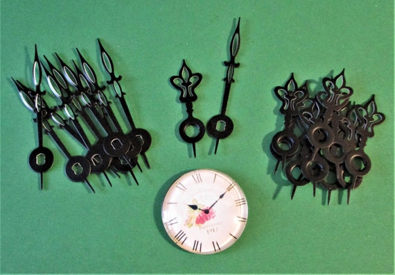 10 Pairs of Vintage Small Black Painted Aluminum Flower Design I Shaft Clock Hands - Make Clocks, Jewelry, Steampunk Art and Etc. Stk# 572