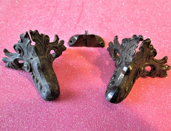 1 Set of Old and Tarnished Cast Metal Mantle Clock Feet for your Clock Projects, Steampunk Art, Metalworks and Etc.Stk#488