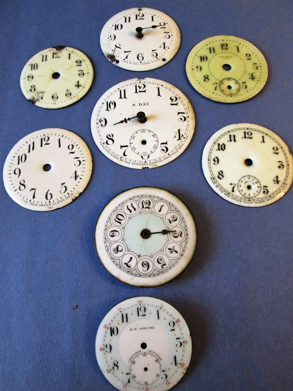8 Assorted Antique and Vintage Porcelain Pocket Watch Dials for your Watch Projects - Jewelry Making - Steampunk Art