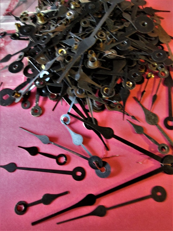 3/4 Pound Lot of Assorted Antique and Vintage Mixed Metals Spade Style Black Clock Hands for your Clock Projects, Steampunk Art  Stk#453