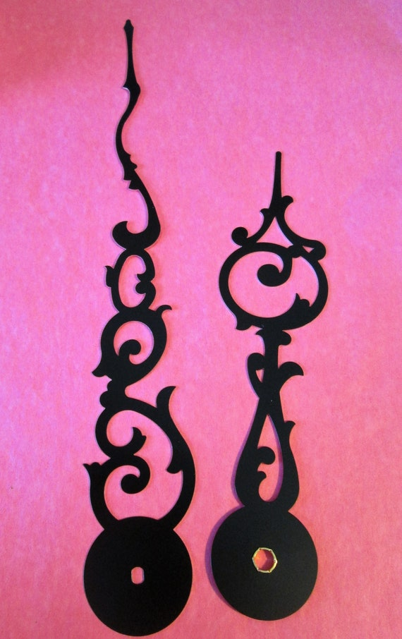 """1 Pair of Large 8 1/4"""" and 5 5/8"""" New Black Aluminum Fancy Style Clock Hands for your Clock Projects - Steampunk Art"""