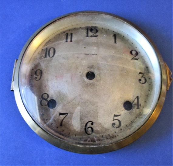 Original Antique Ansonia Clock Co. Dial and Brass Bezel with Domed Glass for your Clock Projects - Art  Stk# 433