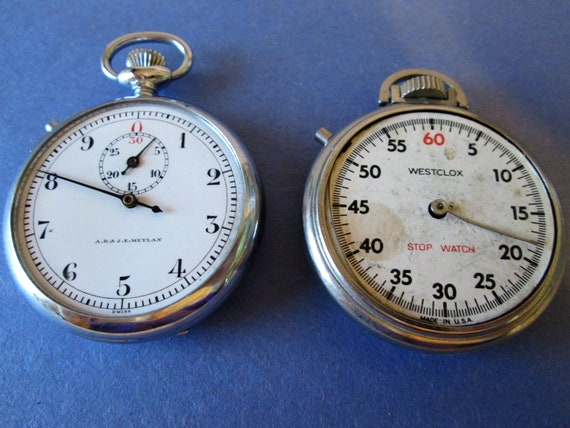 2 Old Partial Stop Watches for Parts/Repair - Steampunk Art