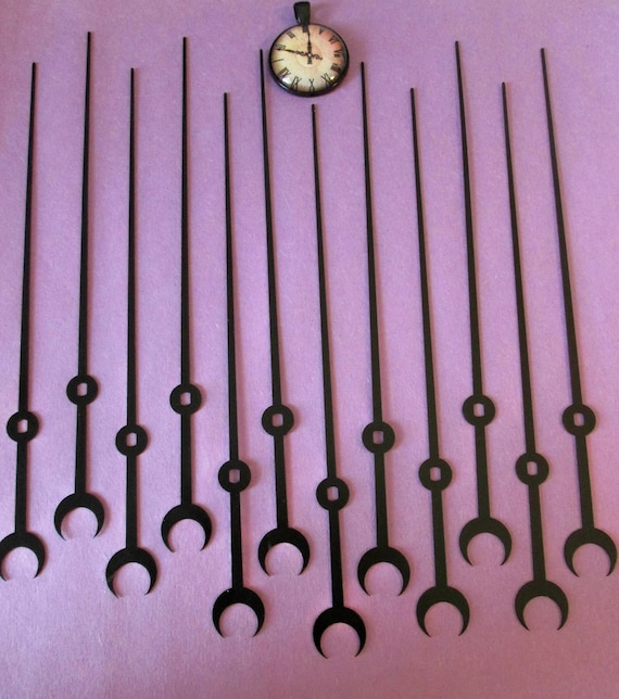 "12 New 6 3/4"" Black Aluminum Moon Design Clock Second Hands for your Clock Projects, Steampunk Art, Jewelry Making & Etc..."
