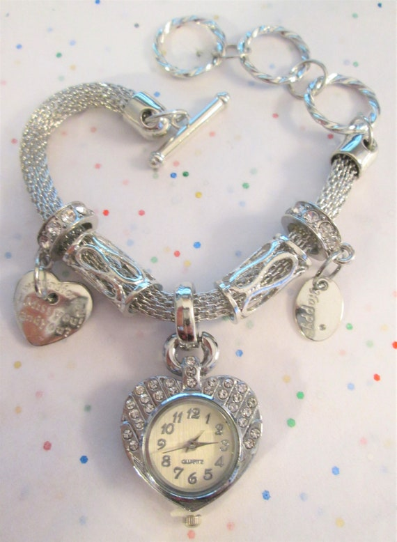 New Heart Shaped Watch Bracelet With A Lot Of Bling!  Adjustable Clasp - Great Gift Idea