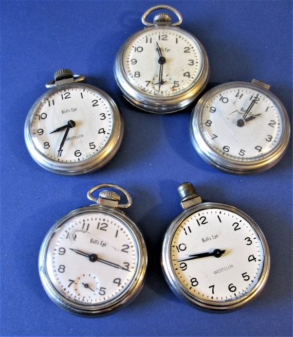 5 Assorted Vintage Westclox Bulls Eye Model Pocket Watches for Repair/Parts Stk #W72
