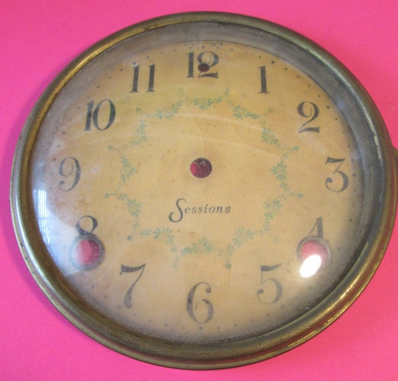 """Antique Sessions Clock Dial - Solid Brass Bezel with Domed Glass and 1/2""""  Numbers for your Clock Projects and etc..."""