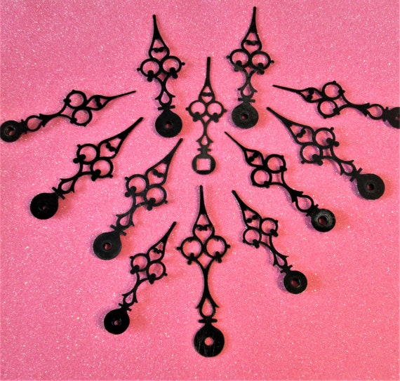 12 Assorted Old Large Black Steel Serpentine Style Clock Hour Hands for your Clock Projects, Steampunk Art, Jewelry Making and Etc Stk#447