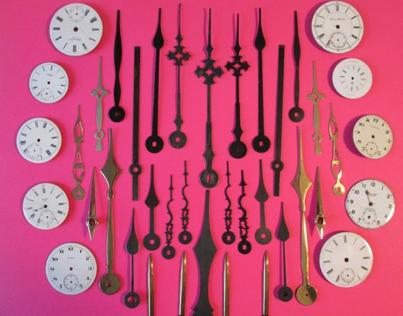 30 Assorted Mixed Metals Clock Hands and 10 Old Porcelain Pocket Watch Dials -  Make Clocks, Jewelry, Steampunk Art & Etc...