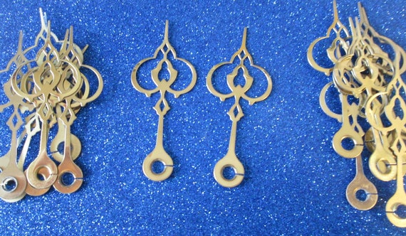 """16 Fancy 2 3/4"""" Shiny Brass Plated Clock Hour Hands for your Clock Projects, Jewelry Making,"""
