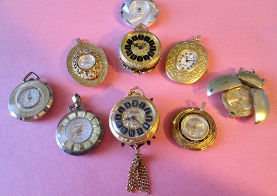 9 Assorted Vintage Pendant Watches for Parts/Repair - Steampunk Art -