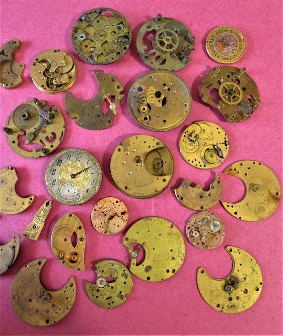Antique & Vintage Pocket and Wrist Watch Mechanisms and Parts - Illinois - Elgin - Ingraham - Stk# W81