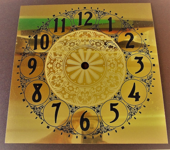 """8"""" x 8"""" Very Shiny Vintage Brass Plated Aluminum Clock Dial with 1"""" Black Numbers for your Clock Projects, Crafts and Etc."""