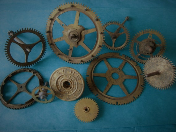 10 Large Antique Clock Gears & Wheels for your Clock Projects, Steampunk Art, Metalworking and Etc...