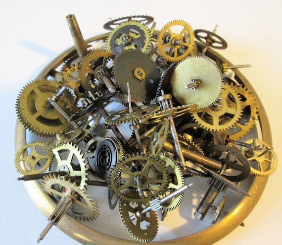 """58 Antique Clock Parts Brass and Steel With 5 5/8"""" Brass Clock Bezel for your Clock Projects - Steampunk Art"""