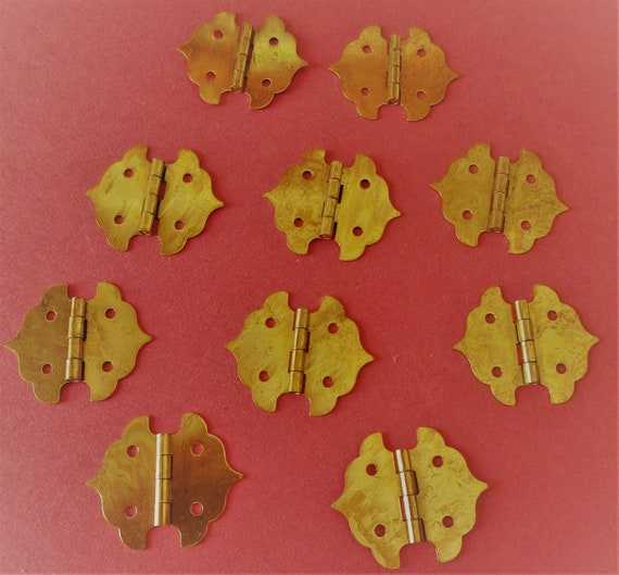 10 Fancy Vintage Solid Brass Clock Door/Furniture Cabinet Hinges for your Clock Projects and Etc...