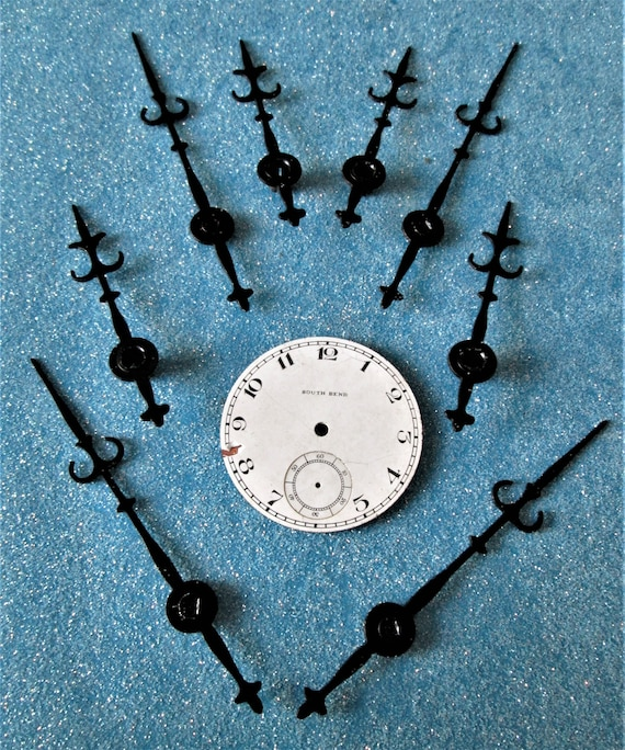 4 Vintage Pairs of Black Painted Solid Brass Trident Design Clock Hands for your Clock Projects, Jewelry Crafts, Steampunk Art Stk#795