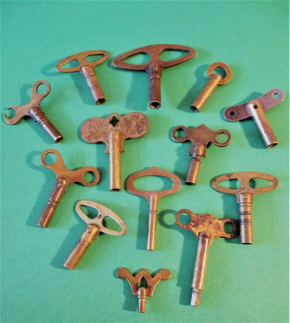 12 Assorted Antique Solid Brass Clock Keys for your Clock Projects - Art - Stk# K91