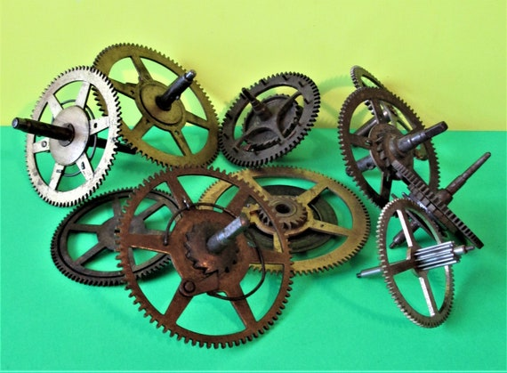 10 Assorted Old and Tarnished Solid Brass and Steel Clock Parts for your Clock Projects - Steampunk Art Stk#702