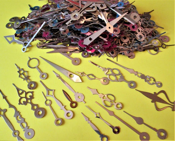 1 Pound of Assorted Vintage & New Brass Clock Hands for your Clock Projects, Steampunk Art, Jewelry Crafts and etc..Stk#202
