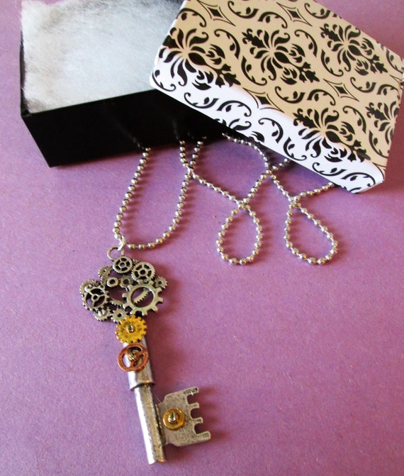 "1 New Steampunk Art Design Cast Metal Key and clock Parts  Necklace with 22"" Adjustable Chain - Great Gift Idea"