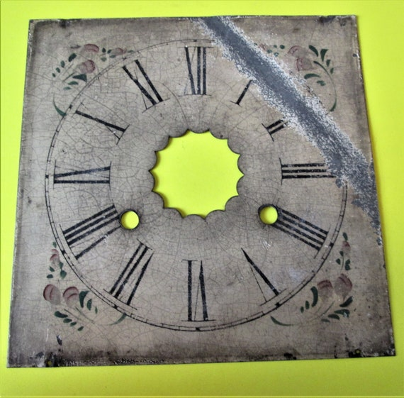 "8 3/8"" x 8 3/8"" Old and Worn Ornate Heavy Painted Steel Clock Dial with 1 1/3"" Black Rorman Numerals for your Clock Projects, Crafts and Etc"