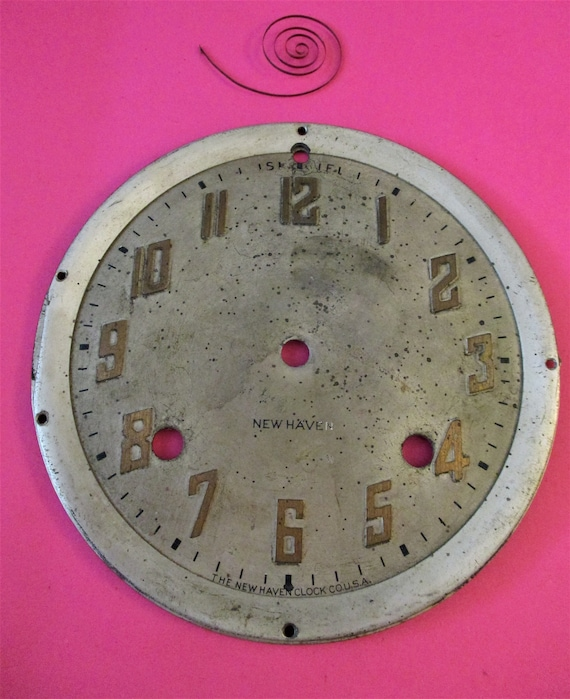 """5 3/4"""" Wide Old Thick Metal New Haven Clock Dial for your Clock Projects - Art - Stk# 421"""