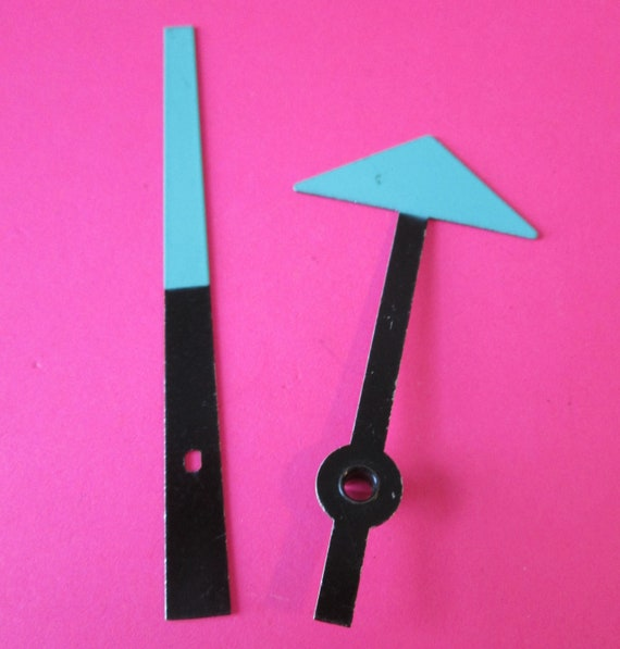 1 Pair of Black and Teal Painted Aluminum Arrow Design Clock Hands for your Clock Projects - Jewelry Making & Steampunk Art