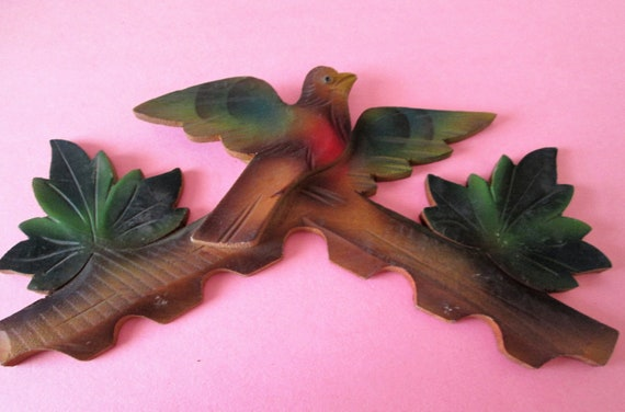 """1 Painted and Stained Wood German Made 8 1/2"""" x 4 1/2"""" Bird and Leaf Design Cuckoo Clock Top Ornament for your Clock Projects - Crafts"""