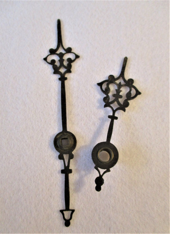 1 Pair of Antique Black Steel Vienna Design Clock Hands for Mechanical Clocks Stk# 209