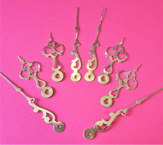 4 Pairs of New Fancy Shiny Gold Colored Aluminum Clock Hands for your Clock Projects - Jewelry Making Stk#137
