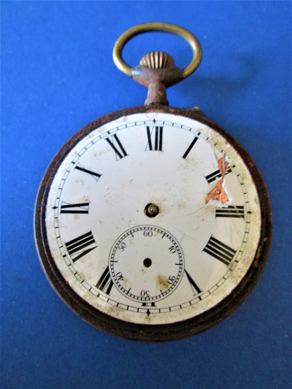 1 Partial Antique La Gauloise Pocket Watch for Repairs/Parts - Rusty & Dusty for your Watch Projects - Steampunk Art - Etc..Stk# W40