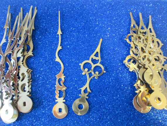 """12 Pairs of New Shiny Brass Plated Steel Serpentine Design Clock Hands - Make Clocks, Jewelry, Steampunk Art and Etc... 4 3/8"""" and 3 1/8"""""""