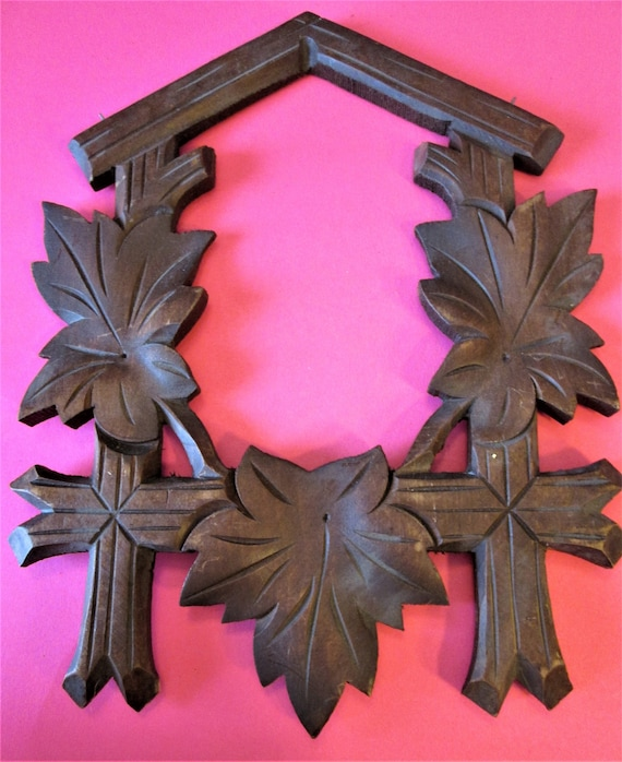 1 Large Old Reproduction Stained Wood and Painted Cuckoo Clock Leaf Design Frame for your Clock Projects - Crafts