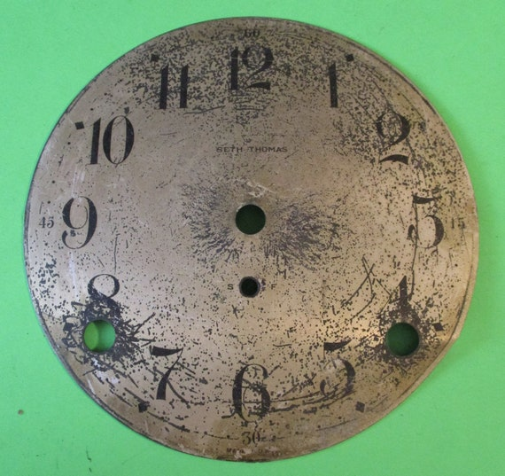 """5"""" Old and Worn Seth Thomas Domed Metal Clock Dial for your Clock Projects - Art - Stk# 768"""