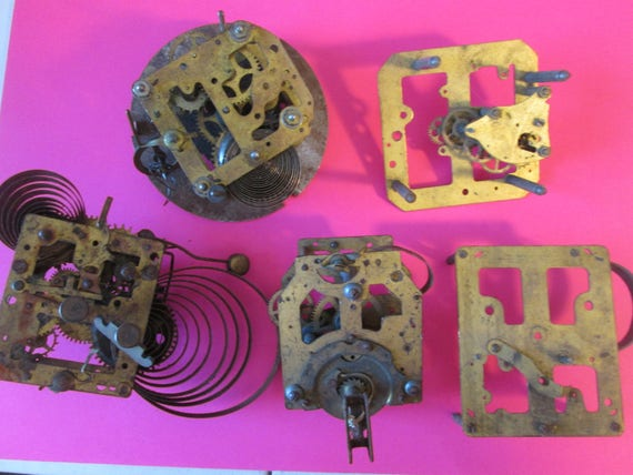 5 Partial Antique Solid Brass and Steel Clock Works for your Clock Projects,  Steampunk Art