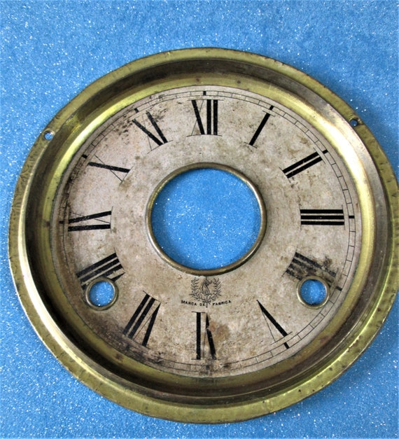 """Old and Faded Foreign Paper on Metal Pan 6"""" Clock Dial for your Clock Projects - Art - Stk# 383"""