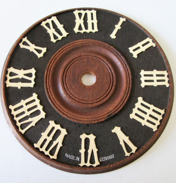 "4"" Wooden German Made Cuckoo Clock Dial with Paper Roman Numerals for your Clock Projects - Crafts"