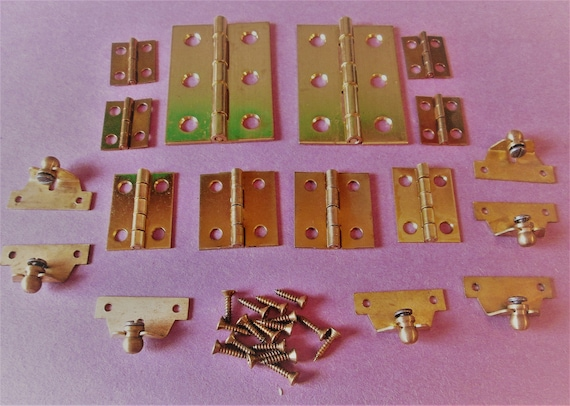 18 Vintage Brass Plated Clock Door/Furniture Cabinet Hinges for your Clock Projects and Etc...