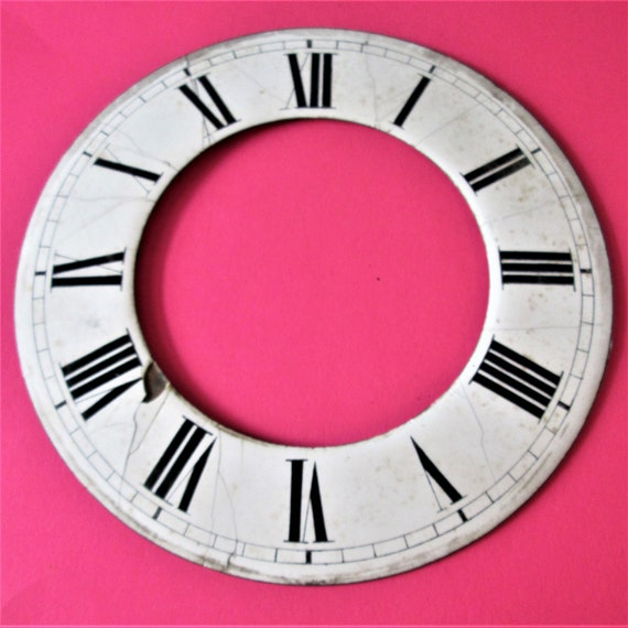 """6 5/8"""" Vintage Ceramic Clock Dial with Roman Numerals for your Clock Projects - Steampunk Art and Etc..Stk#156"""