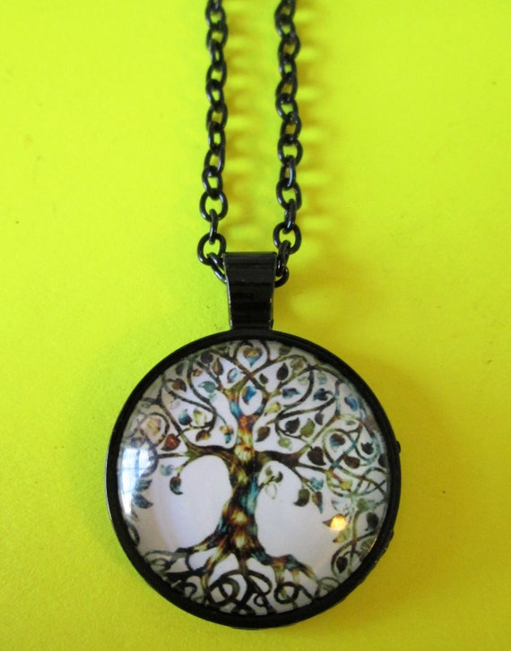 "1 New Domed Glass Tree of Life Theme Necklace 1"" Wide with an 18"" Adjustable Chain -Great Gift Idea"