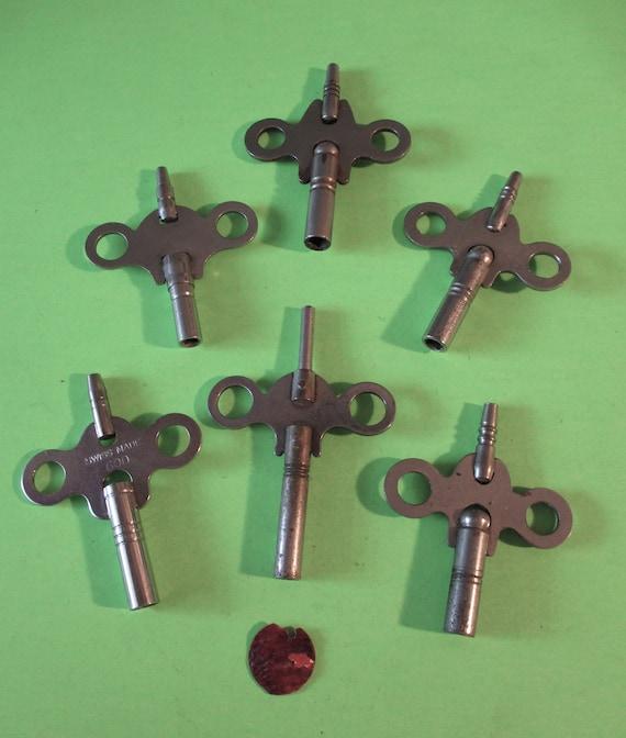 6 Assorted Steel & Nickel Double Sided Clock Keys for your Clock Projects - Art - Stk# K99