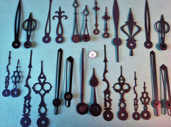 15 Assorted Pairs of Vintage Black Mixed Metals Clock Hands for your Clock Projects - Jewelry - Steampunk Art