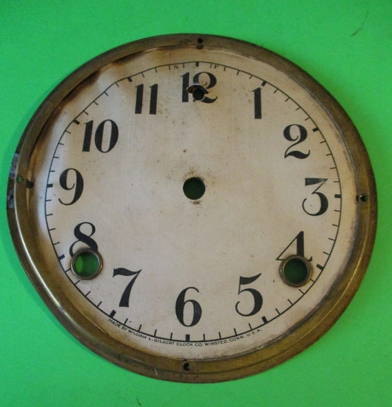 "5 3/4"" Antique Gilbert Clock Dial - Paper, Steel and Brass - For your Clock Projects - Art - Stk# 773"