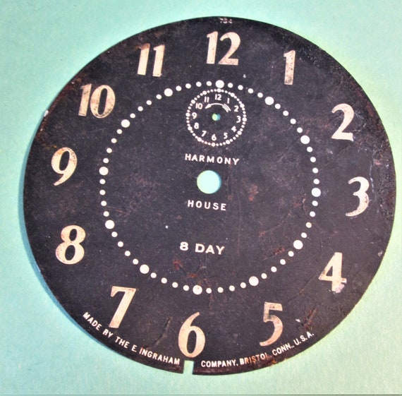 "Ingraham 4 3/8"" 8 Day Harmany House Steel Alarm Clock Dial for your Clock Projects, Steampunk Art.Stk#615"