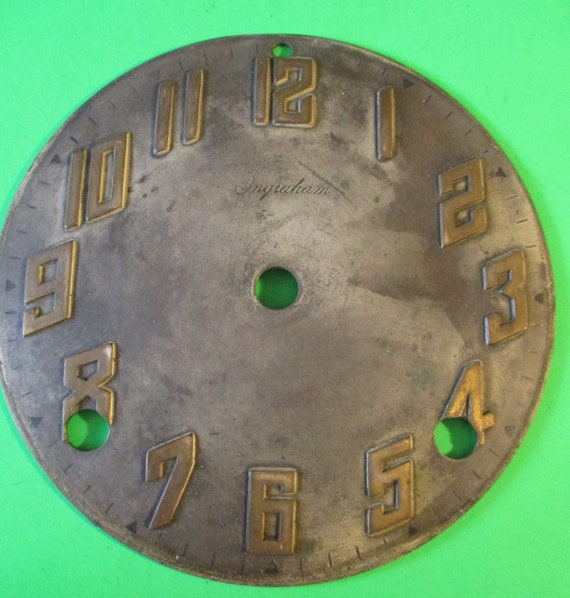 "5"" Old and Worn Antique Ingraham Heavy Pressed Metal Clock Dial for your Clock Projects - Art - Stk# 775"